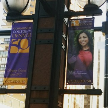 CCD Featured Alumni Banner displayed at Larimer Square in Downtown Denver, Oct 2017